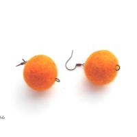 Náušnice plstěné oranžové