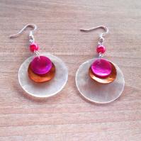 Náušnice perleť bílá+hnědá+růžová (126/19)