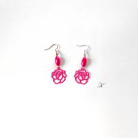 Náušnice růžové kytičkové (282/19)