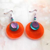 Náušnice perleť oranžová+zelená+fialová (113/19)