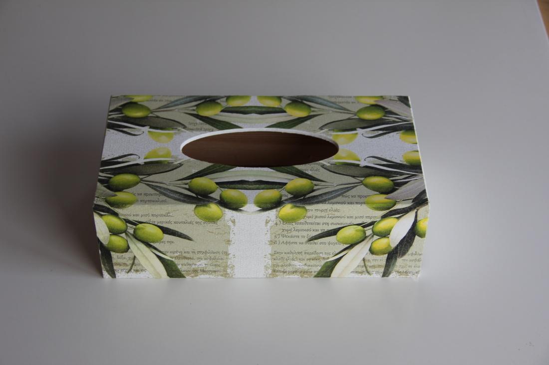 Krabička na kapesníky s motivem oliv